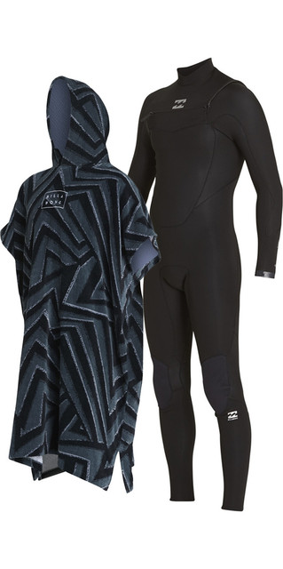 2018 Billabong Absolute Comp 4/3mm Chest Zip Wetsuit & Poncho / Changing Robe Bundle Offer Picture