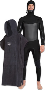 Billabong Mens Furnace Absolute X Hooded 5/4mm Chest Zip Wetsuit & Billabong Mens Hooded Changing Robe Poncho