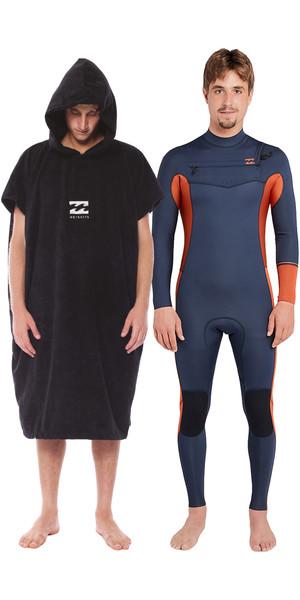 2018 Billabong Furnace Revolution 4/3mm Chest Zip Wetsuit Slate & Vadar Poncho Bundle