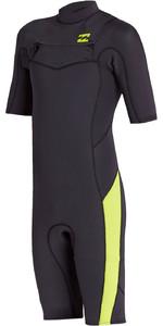 2020 Billabong Junior Boys Absolute 2mm Flatlock Chest Zip Shorty Wetsuit S42B67 - Neon Green