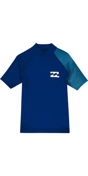 2019 Billabong Junior Boys Contrast Short Sleeve Rash Vest Navy N4KY09