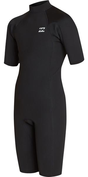2019 Billabong Junior Boys Furnace Absolute 2mm Back Zip Shorty Wetsuit Black / Silver N42B04