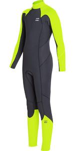 2019 Billabong Junior Boys Furnace Absolute 3/2mm Back Zip Wetsuit Neon Yellow N43B05