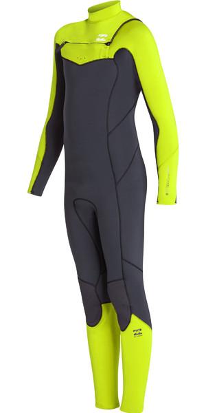 2019 Billabong Junior Boys Furnace Absolute 3/2mm Chest Zip Wetsuit Neon Yellow N43B06