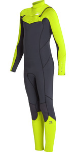 2019 Billabong Junior Boys Furnace Absolute 4/2mm Chest Zip Wetsuit Neon Yellow N44B03