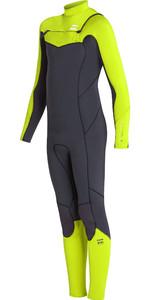2019 Billabong Junior Boys Furnace Absolute 4/2mm Chest Zip Wetsuit Neon Yellow N44B03