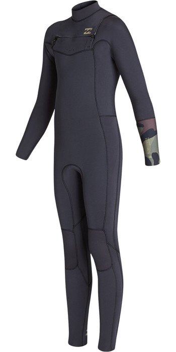 2019 Billabong Junior Boys Furnace Revolution 3/2mm Chest Zip Wetsuit Black Sands N43B02