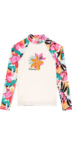 2019 Billabong Junior Girls Flower Long Sleeve Rash Vest Seashell N4KY04