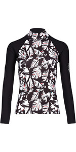 2018 Billabong Womens Flower Long Sleeve Rash Vest FEATHER BLACK PEBBLE H4GY04