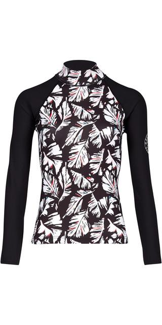 2018 Billabong Womens Flower Long Sleeve Rash Vest Feather Black Pebble H4gy04 Picture