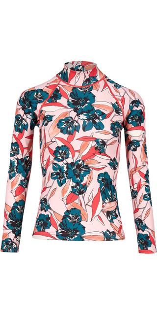 2018 Billabong Womens Flower Long Sleeve Rash Vest Blush H4gy04 Picture
