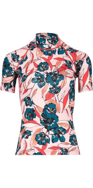 2018 Billabong Womens Flower Short Sleeve Rash Vest Blush H4gy03 Picture