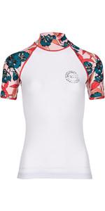 Billabong Womens Flower Short Sleeve Rash Vest WHITE H4GY03