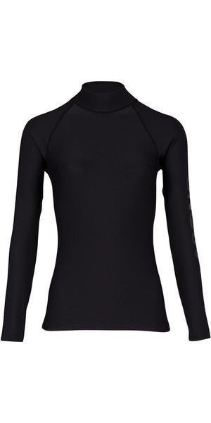 2018 Billabong Womens Logo Long Sleeve Rash Vest BLACK PEBBLE H4GY02