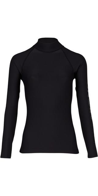 2018 Billabong Womens Logo Long Sleeve Rash Vest Black Pebble H4gy02 Picture