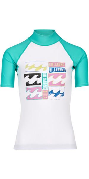 2018 Billabong Womens Logo Short Sleeve Rash Vest POOL BLUE H4GY01