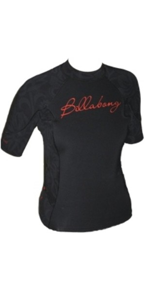 1f37afb748 Billabong Ladies Short Sleeve 1mm Neo Top in Black   Red V4EQ06 Billabong