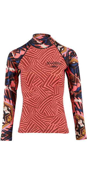 2018 Billabong Ladies Surf Capsule Long Sleeve Rash Vest PARADISE PINK H4GY06