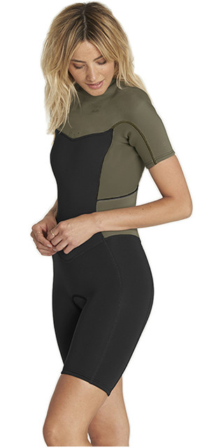 2018 Billabong Womens Synergy 2mm Back Zip Shorty Wetsuit Moss H42g04 Picture