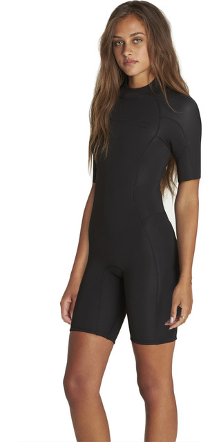 2018 Billabong Womens Synergy 2mm Back Zip Shorty Wetsuit Black H42g04 Picture