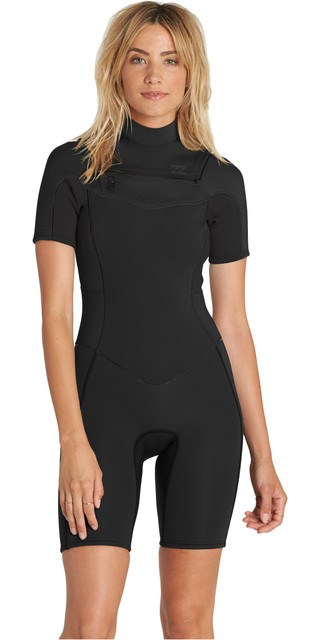 2018 Billabong Womens Synergy 2mm Chest Zip Shorty Wetsuit Black H42g05 Picture