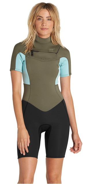 2018 Billabong Womens Synergy 2mm Chest Zip Shorty Wetsuit Moss H42g05 Picture