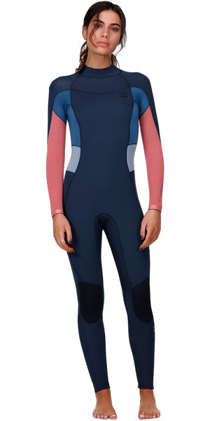 2018 Billabong Womens Synergy 3/2mm GBS Back Zip Wetsuit SLATE H43G11
