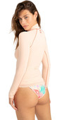 2021 Billabong Womens Logo Long Sleeve Rash Vest W4GY50 - Tropical Peach