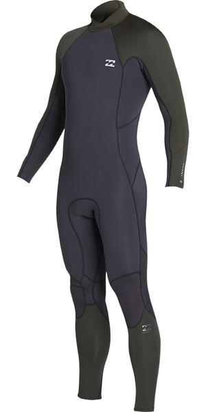 2019 Billabong Mens 3/2mm Furnace Absolute Back Zip Wetsuit Black Olive N43M33