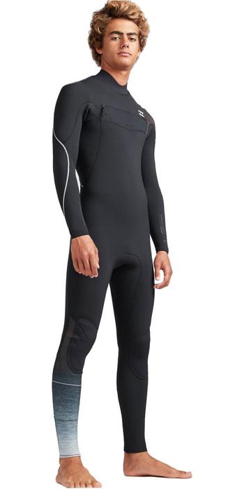 2019 Billabong Mens 3/2mm Furnace Carbon Comp Chest Zip Wetsuit Black Fade N43M02