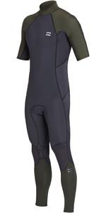 2019 Billabong Mens 2mm Furnace Absolute Back Zip Short Sleeve Wetsuit Black Olive N42M29