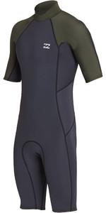 2019 Billabong Mens 2mm Furnace Absolute Back Zip Shorty Wetsuit Black Olive N42M24