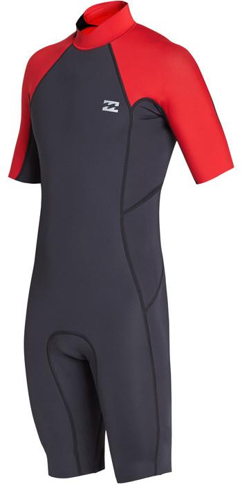 2019 Billabong Mens 2mm Absolute Back Zip Shorty Wetsuit Red N42M24