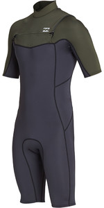 2019 Billabong Mens 2mm Absolute Chest Zip Shorty Wetsuit Black Olive N42M23
