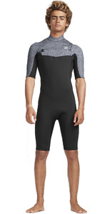 2019 Billabong Mens 2mm Absolute GBS Chest Zip Shorty Wetsuit Grey Heather N42M20