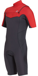 2019 Billabong Mens 2mm Absolute Chest Zip Shorty Wetsuit Red N42M23