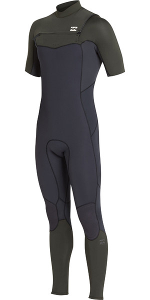 2019 Billabong Mens 2mm Furnace Absolute Comp Chest Zip Wetsuit Black Olive N42M19