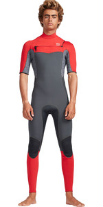 2019 Billabong Mens 2mm Furnace Absolute Comp Chest Zip Wetsuit Red Grey N42M19