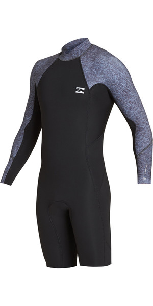 2019 Billabong Mens 2mm Furnace Absolute Long Sleeve GBS Back Zip Shorty Wetsuit Grey Heather N42M21