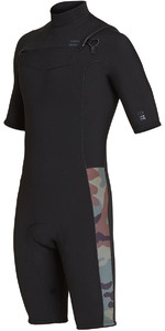 2019 Billabong Mens 2mm Revolution Chest Zip Shorty Wetsuit Camo N42M08