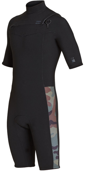 2019 Billabong Mens 2mm Furnace Revolution Chest Zip Shorty Wetsuit Camo N42M08