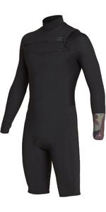 2019 Billabong Mens 2mm Revolution Long Sleeve Chest Zip Shorty Wetsuit Camo N42M09