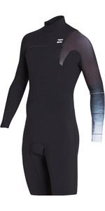 2019 Billabong Mens 2mm Pro Series Chest Zip Long Sleeve Shorty Wetsuit Black Fade N42M04