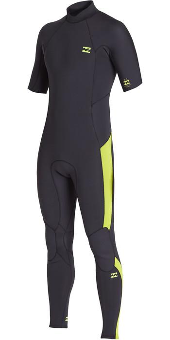 2020 Billabong Mens Absolute 2mm Back Zip Short Sleeve GBS Wetsuit S42M66 - Lime