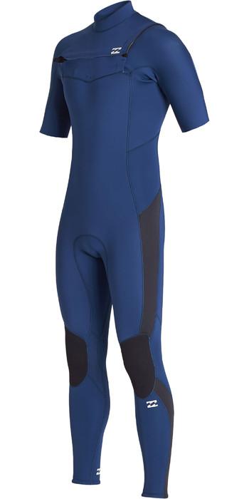 2020 Billabong Mens Absolute 2mm Chest Zip Short Sleeve GBS Wetsuit S42M65 - Blue Indigo