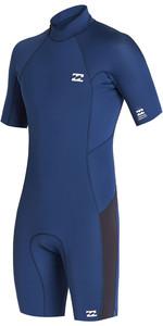 2020 Billabong Mens Absolute 2mm Flatlock Back Zip Shorty Wetsuit S42M71 - Blue Indigo