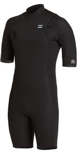 2021 Billabong Mens Absolute 2mm Flatlock Chest Zip Shorty Wetsuit W42M71 - Black