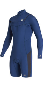 2020 Billabong Mens Absolute 2mm GBS Chest Zip Long Sleeve Shorty Wetsuit S42M68 - Blue Indigo