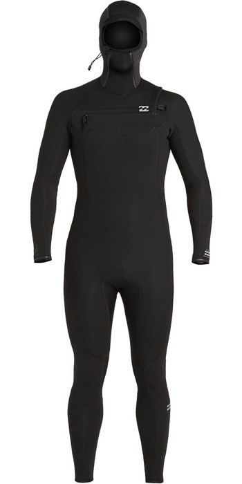 2021 Billabong Mens Absolute 5/4mm Chest Zip Hooded Wetsuit U45M59 - Black