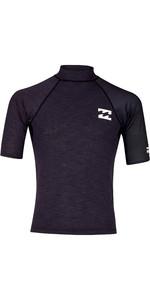 2019 Billabong Mens Contrast Short Sleeve Printed Rash Vest Black Heather N4MY05
